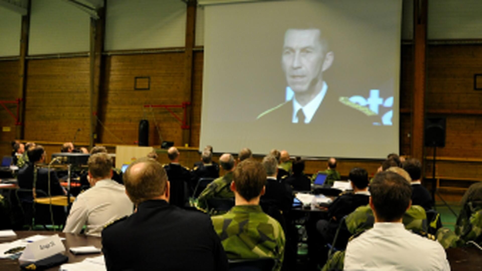 Överbefälhavaren Micael Bydén delade sitt budskap via film till LSS chefer  Foto  Mats Gyllander Försvarsmakten dc939bf58cb23