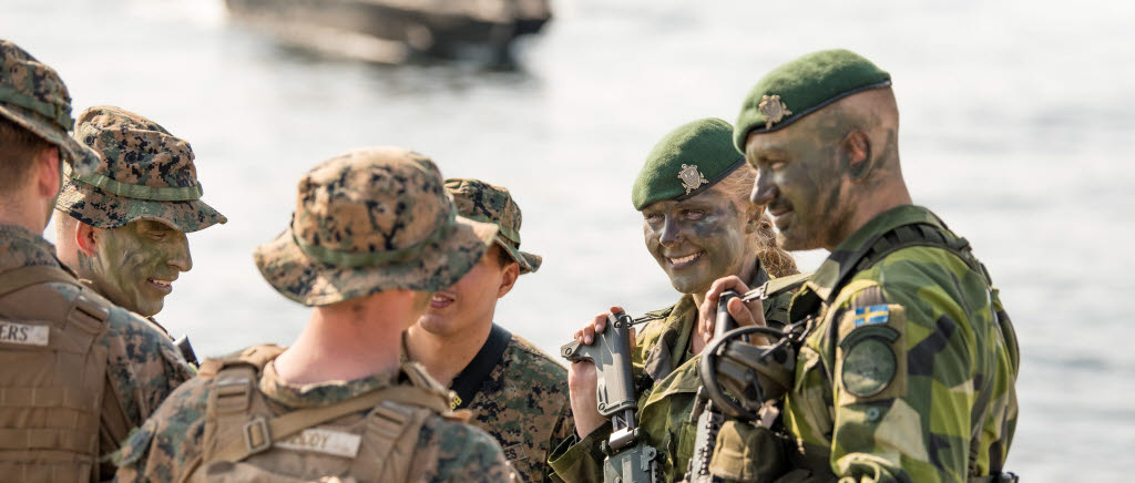 Swedish marines and U.S marines solve a joint operation